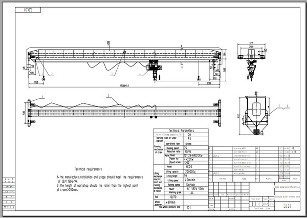 Single Girder Eot Crane Drawing : Single girder overhead crane for work zzhz