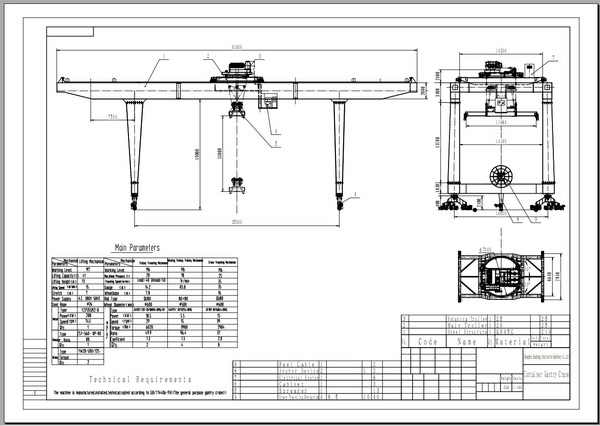 container gantry crane rail type main Container gantry crane is a type of large wharf gantry crane which at container terminals for loading and unloading intermodal containers it is available with span of 5~8 containers wide (plus a truck width) and with lifting height from 1 over 3 to 1 over 6 containers high.